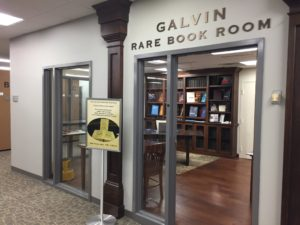 Door to Galvin Rare Book Reading Room